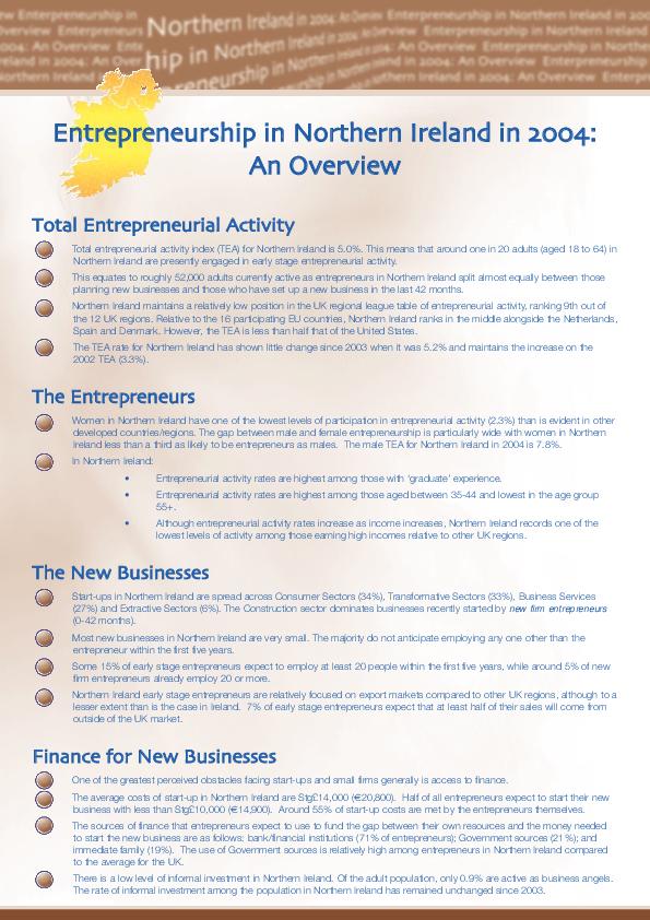 Entrepreneurship on the Island of Ireland in 2004 NI Summary
