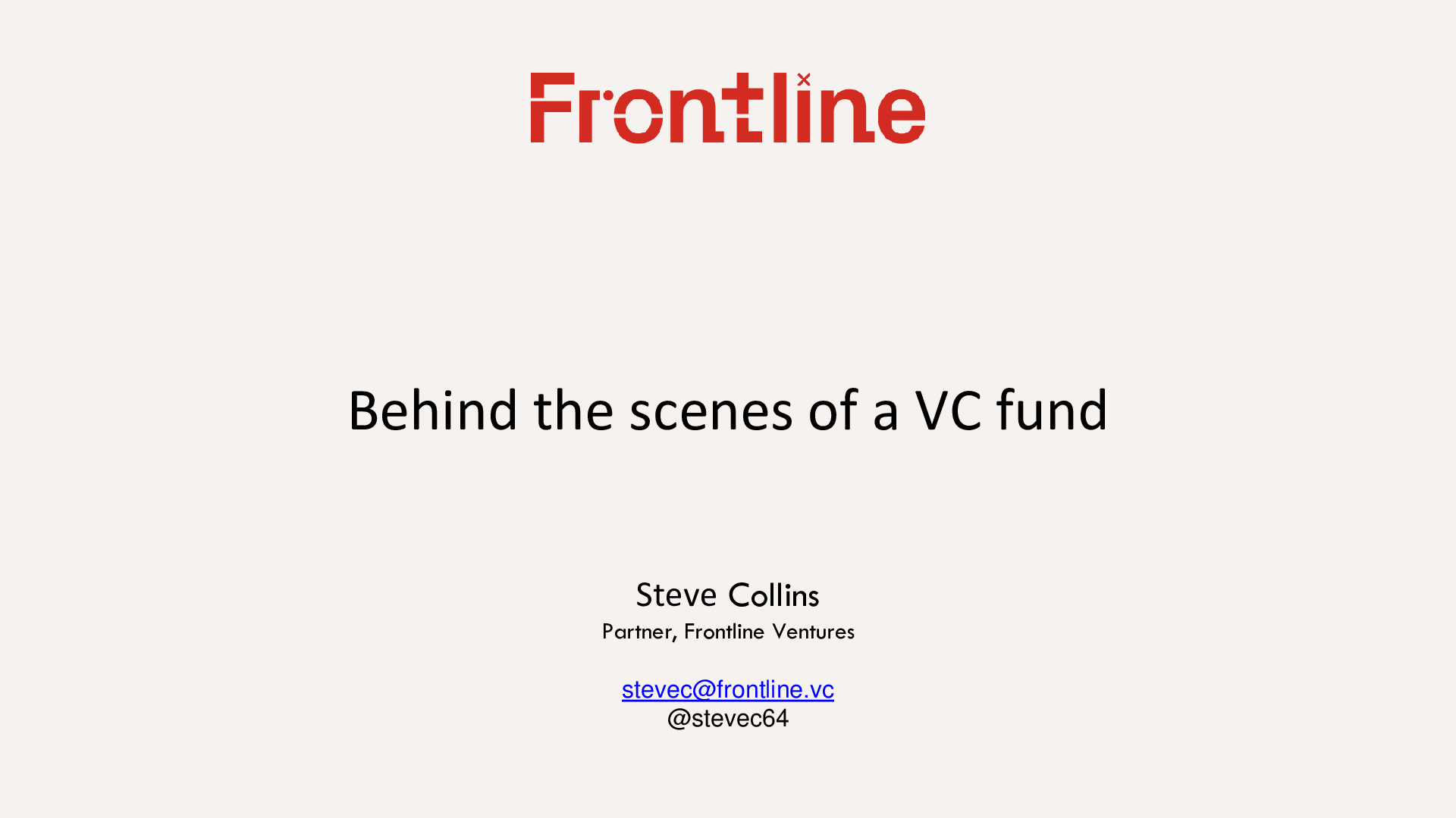 Steve Collins VC Funding