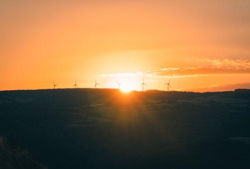 Image of sunrise over wind turbines