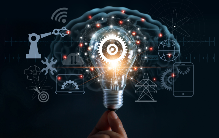 Hand holding lightbulb with cog inside and innovation icon network connection on brain background, innovation technology in science and industrial concept