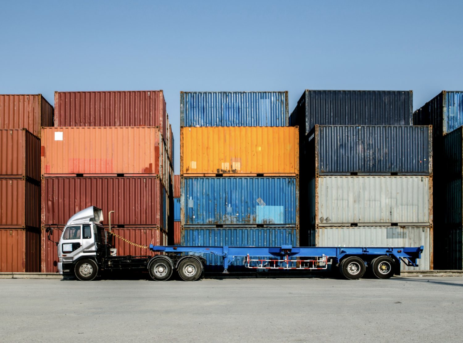 Truck in container yard