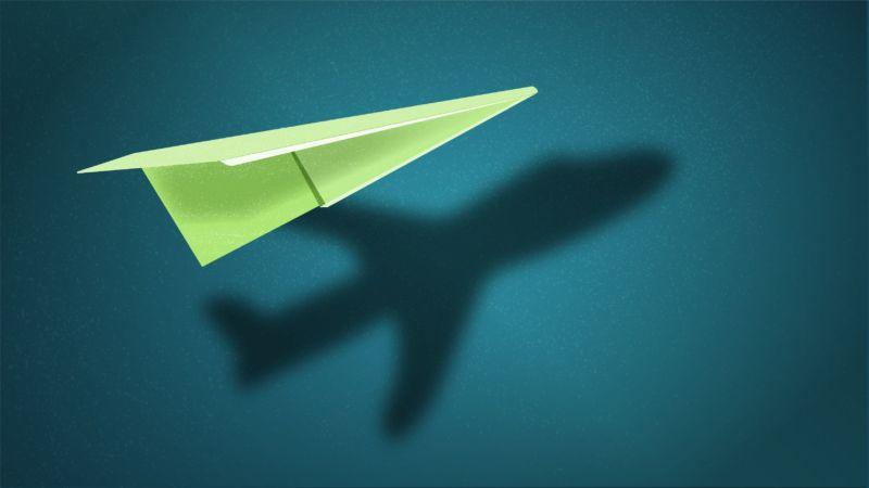 Green paper aeroplane