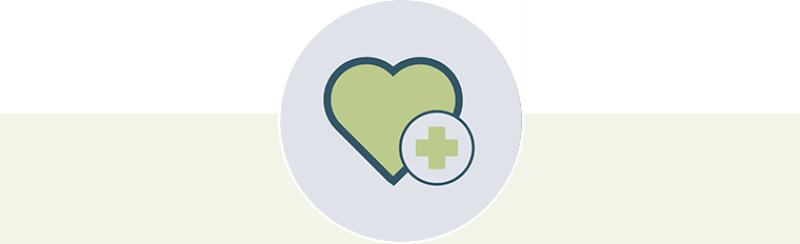 Heart and medical cross icon