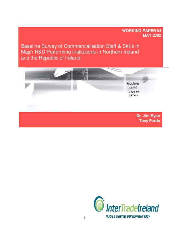 Baseline Survey of Commercialisation Staff Skills in Major RD Performing Institutions in NI and ROI Working Paper