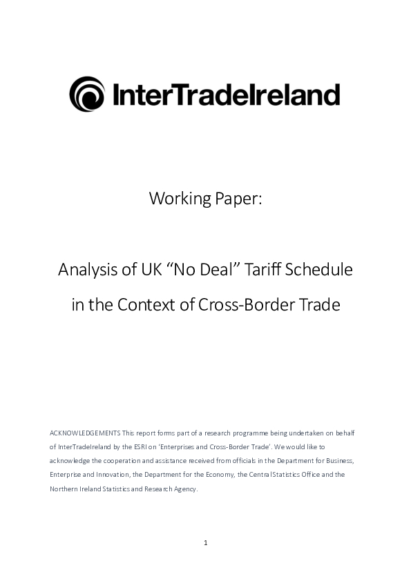 UK No Deal Tariff Schedule Analysis